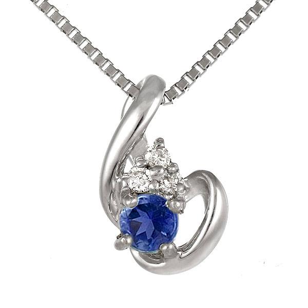 サファイア ダイヤモンド K18 ホワイトゴールド 9月誕生石 ネックレス 誕生日 プレゼント