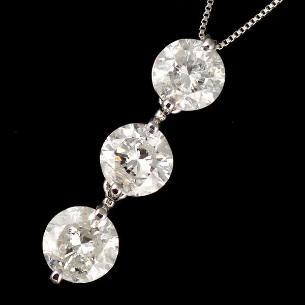 ネックレス スリーストーン ダイヤモンド ネックレス プラチナ ダイヤモンドネックレス ダイヤモンド ダイヤ 3カラット