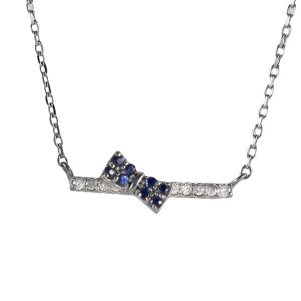 ホワイトゴールド 10金 K10 ダイヤモンド サファイア リボン ネックレス 金ネックレス カラット 人気 おすすめ プレゼント 【DEAL】 末広 スーパーSALE