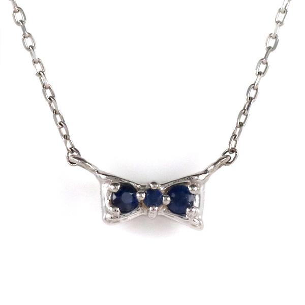 ホワイトゴールド 10金 K10 ダイヤモンド サファイア リボン リバーシブル ネックレス 金ネックレス カラット 人気 おすすめ 【DEAL】