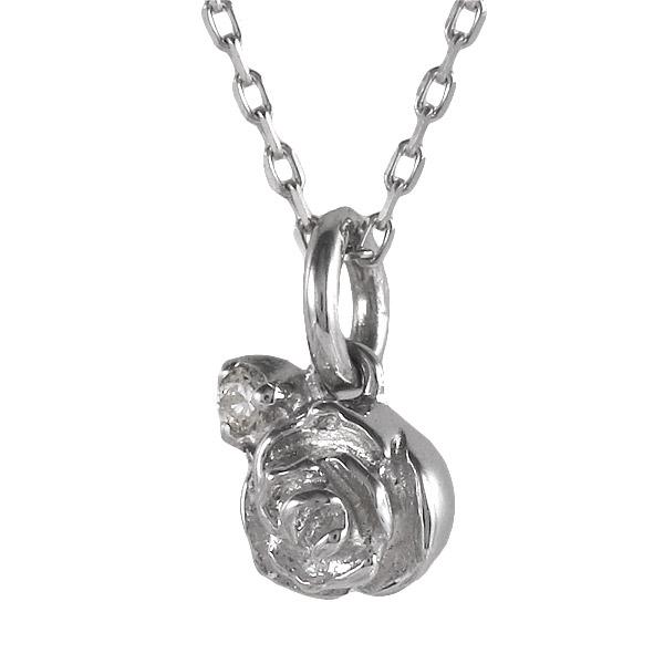 ホワイトゴールド 10金 K10 ダイヤモンド ローズ バラ 薔薇 一粒 ネックレス 金ネックレス カラット 人気 おすすめ プレゼント