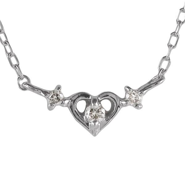 ホワイトゴールド 10金 K10 ダイヤモンド ハート ネックレス 金ネックレス カラット 人気 おすすめ プレゼント