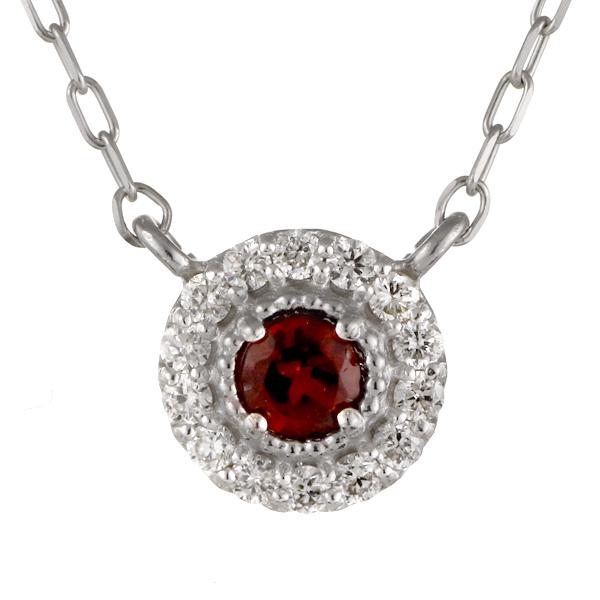 ダイヤモンド ガーネット 18金 K18 18k 金ネックレス ネックレス 人気 誕生石 1誕生石【DEAL】 末広 スーパーSALE