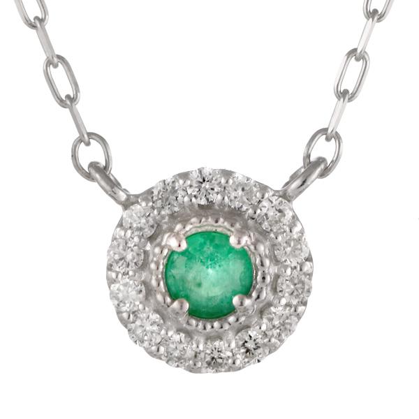 ダイヤモンド エメラルド 18金 K18 18k 金ネックレス ネックレス 人気 誕生石 5誕生石 末広 スーパーSALE