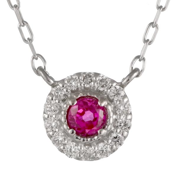 ダイヤモンド ルビー 18金 K18 18k 金ネックレス ネックレス 人気 誕生石 7誕生石 末広 スーパーSALE