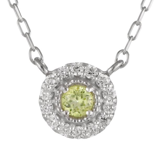 ダイヤモンド ペリドット 18金 K18 18k 金ネックレス ネックレス 人気 誕生石 8誕生石 末広 スーパーSALE