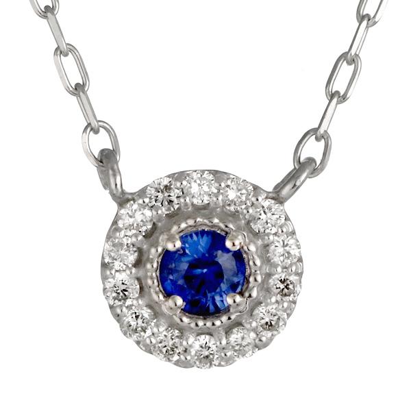 ダイヤモンド サファイア 18金 K18 18k 金ネックレス ネックレス 人気 誕生石 9誕生石【DEAL】 末広 スーパーSALE