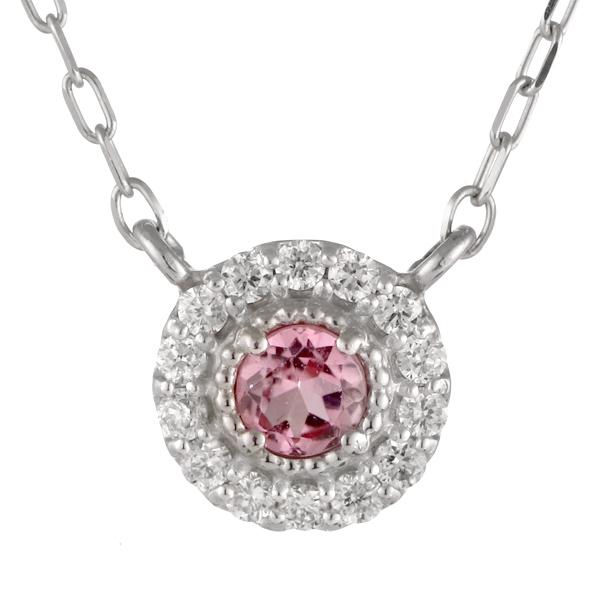 ダイヤモンド ピンクトルマリン 18金 K18 18k 金ネックレス ネックレス 人気 誕生石 10誕生石 末広 スーパーSALE