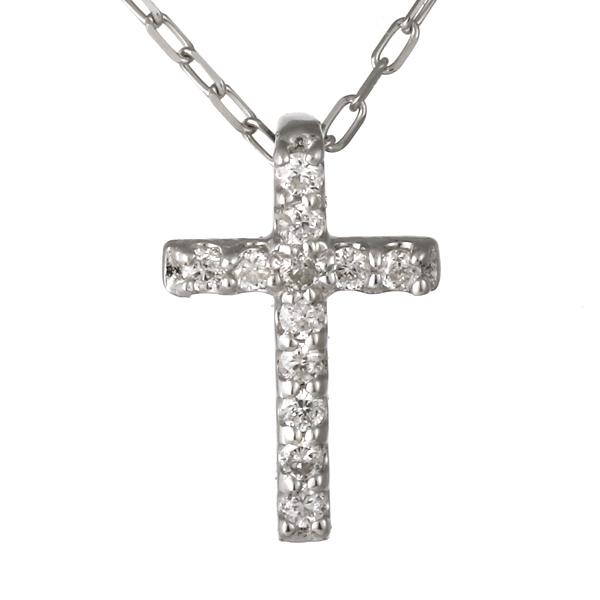 ネックレス レディース ネックレス クロス 十字 十字架 ダイヤモンド ホワイトゴールド 記念日 ギフト アクセサリー 4月誕生石 誕生日 【DEAL】 末広 スーパーSALE