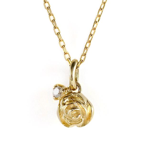 イエローゴールド 10金 K10 ダイヤモンド ローズ バラ 薔薇 一粒 ネックレス 金ネックレス カラット 人気 おすすめ プレゼント 【DEAL】