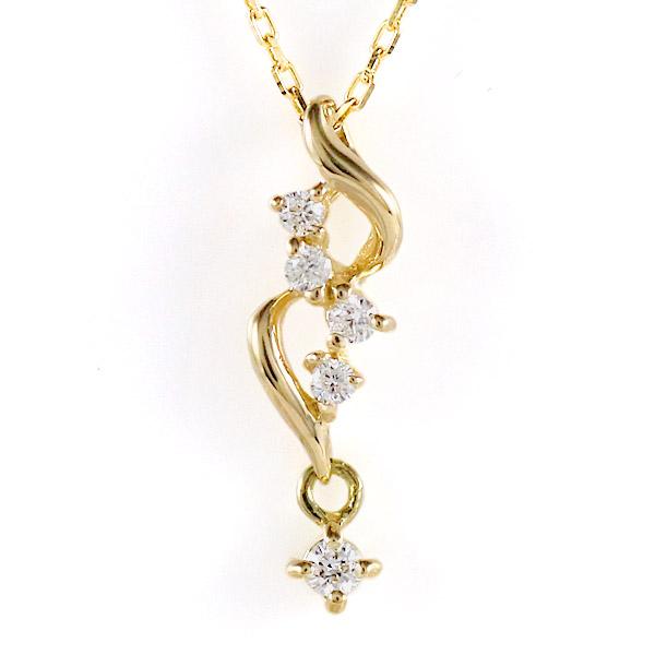 イエローゴールド 10金 K10 ダイヤモンド ネックレス 金ネックレス カラット 人気 おすすめ プレゼント 揺れる 【DEAL】