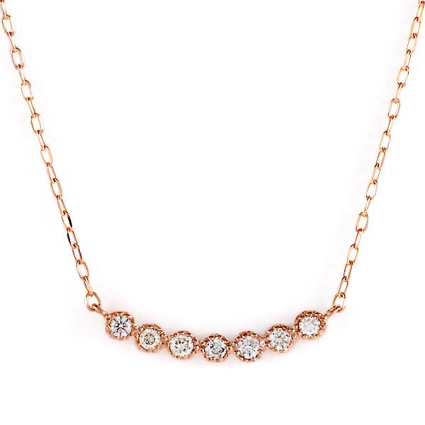 ピンクゴールド 10金 K10 ダイヤモンド シンプル ネックレス 金ネックレス カラット 人気 おすすめ プレゼント 【DEAL】 末広 スーパーSALE