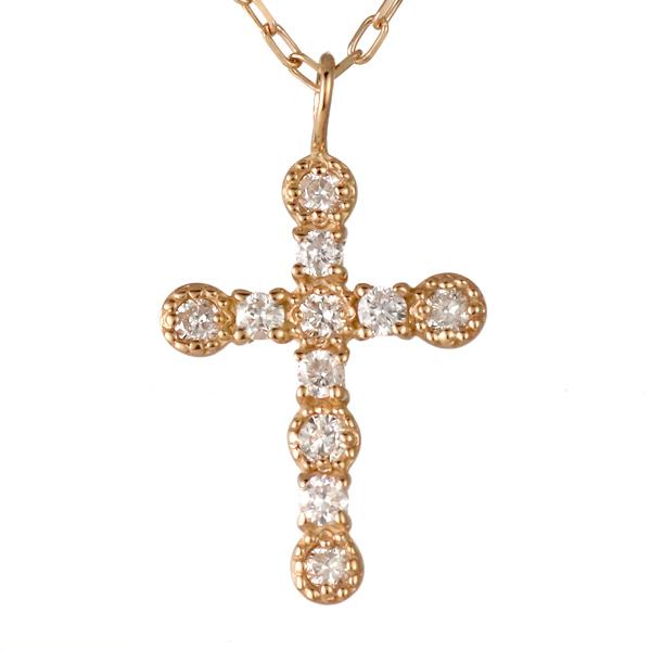 ネックレス レディース ネックレス クロス 十字 十字架 ダイヤモンド ピンクゴールド 記念日 ギフト アクセサリー 4月誕生石 誕生日 【DEAL】 末広 スーパーSALE