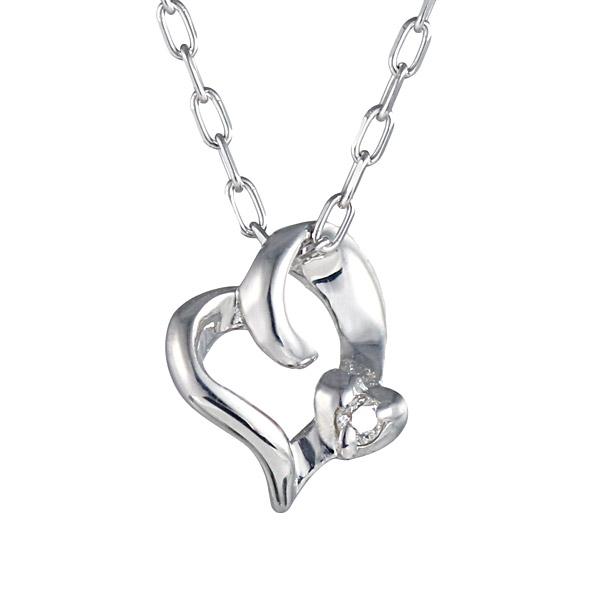 ネックレス ホワイトゴールド ダイヤモンド ハート 女性人気 K10 WG ネックレス