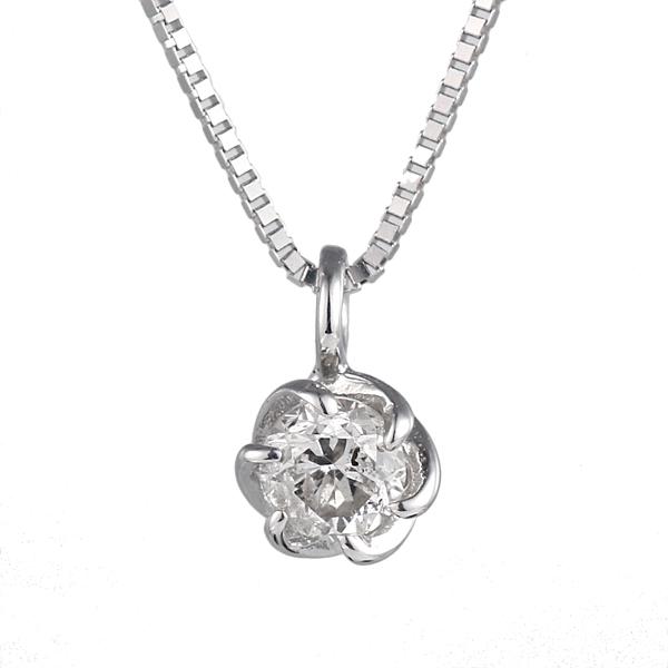 ネックレス ホワイトゴールド ダイヤモンド フラワー 花 植物 K10 WG ネックレス 【DEAL】