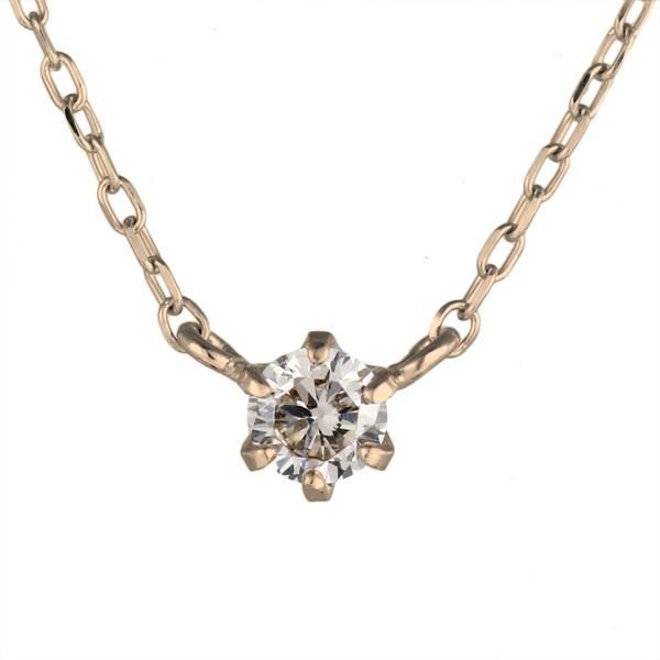 ネックレス ピンクゴールド ダイヤモンド 一粒 K18 PG ネックレス 【DEAL】 末広 スーパーSALE