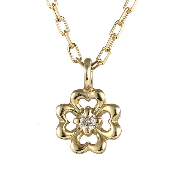 ネックレス イエローゴールド ダイヤモンド 花 フラワー 植物 K10 YG ネックレス