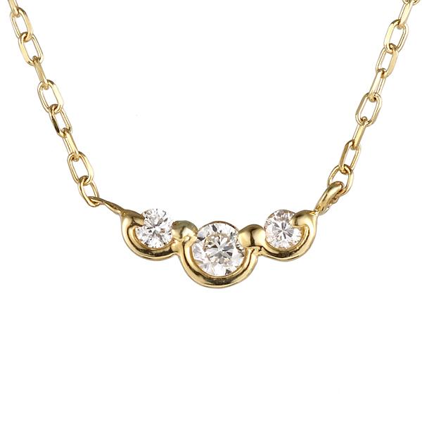 ネックレス イエローゴールド ダイヤモンド スリーストーン 現在 過去 未来 K10 YG ネックレス 【DEAL】 末広 スーパーSALE