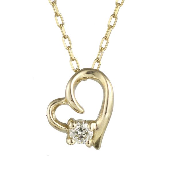 ネックレス イエローゴールド ダイヤモンド ハート 女性人気 K18 YG ネックレス 【DEAL】 末広 スーパーSALE