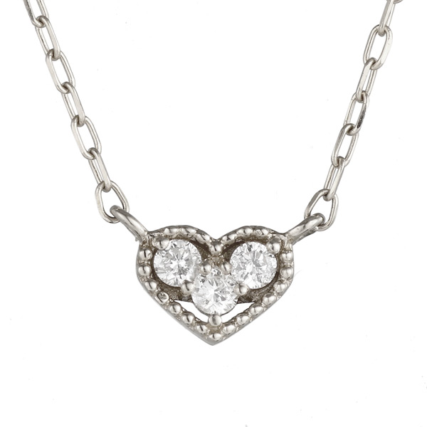 ネックレス ホワイトゴールド ダイヤモンド ハート スリーストーン K10 WG ネックレス 【DEAL】 末広 スーパーSALE