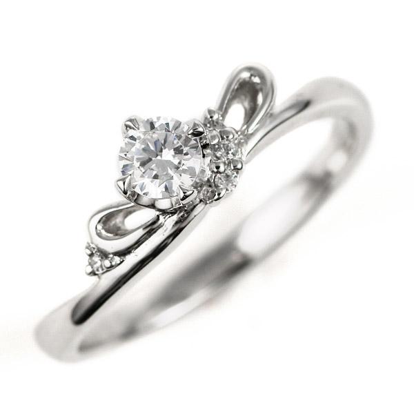 婚約指輪 プラチナ ダイヤモンド ダイヤ リング 0.3ct 天然石 リボン エンゲージリング 鑑定書【DEAL】