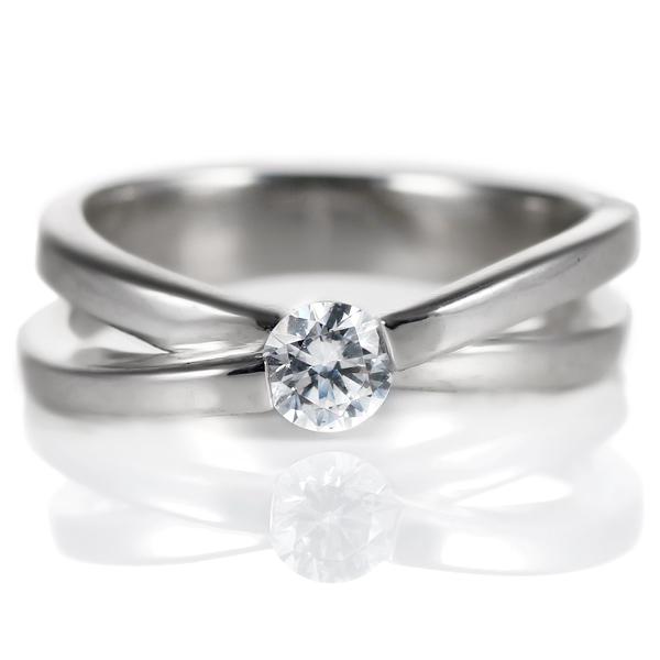ダイヤモンド リング プラチナ 婚約指輪 0.3カラット 鑑別書 埋め込み【DEAL】