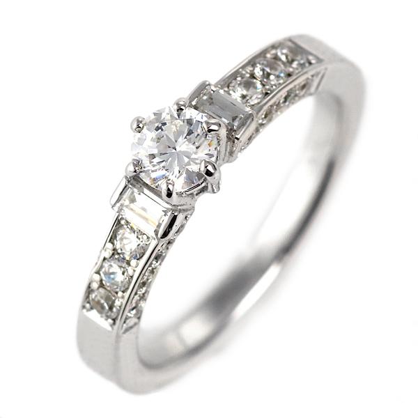 ダイヤモンド リング プラチナ 婚約指輪 0.3カラット 鑑別書 ユニーク【DEAL】