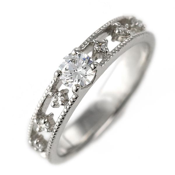 ダイヤモンド リング プラチナ 婚約指輪 0.3カラット 鑑別書 ミル打ち【DEAL】