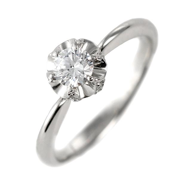 ダイヤモンド リング プラチナ 婚約指輪 0.3カラット 鑑別書 花【DEAL】