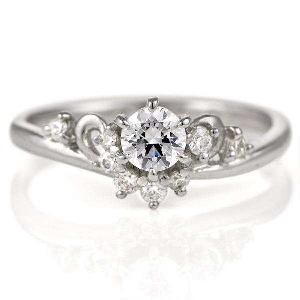婚約指輪 ダイヤモンド ダイヤ プラチナ リング 0.3ct エンゲージリング 鑑定書【DEAL】