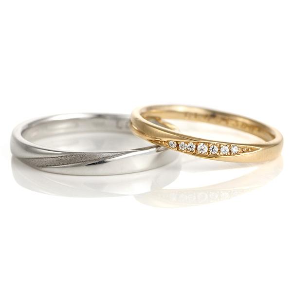 結婚指輪 プラチナ ペアセット マリッジリング ピンクゴールド ダイヤモンド 2本セット メンズ レディース
