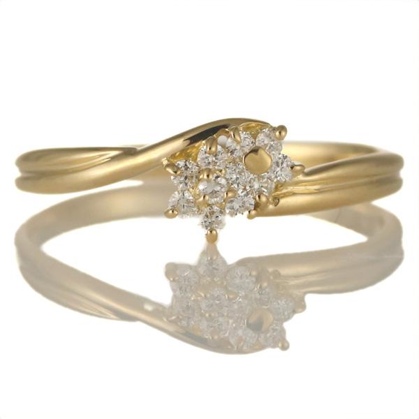 婚約指輪 18金イエロートゴールド 18金 金 K18 18k ダイヤモンド 花 フラワー リング 結婚【DEAL】