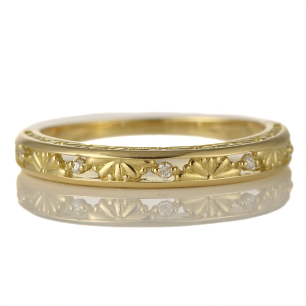 婚約指輪 18金イエローゴールド 18金 金 K18 18k ダイヤモンド すかし リング 結婚【DEAL】