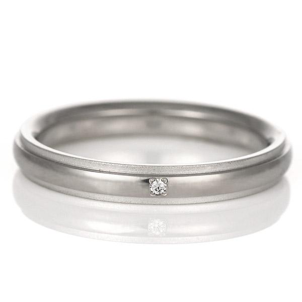 結婚指輪 マリッジリング プラチナ チタン コンビ ダイヤモンド 一粒 Tomo me トモミ ペア ブランド シンプル 人気 刻印無料 ストレート 末広 スーパーSALE