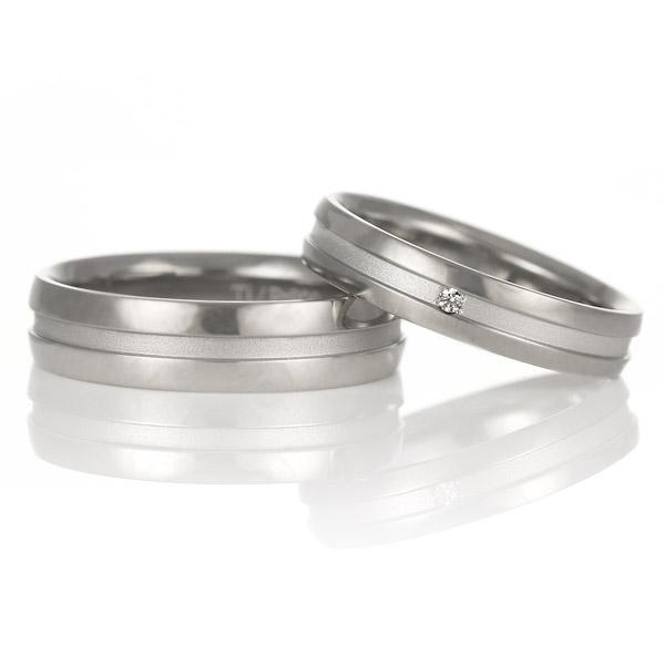 結婚指輪 マリッジリング プラチナ チタン コンビ ダイヤモンド 一粒 Tomo me トモミ ペアリング ブランド シンプル 人気 刻印無料 ストレート