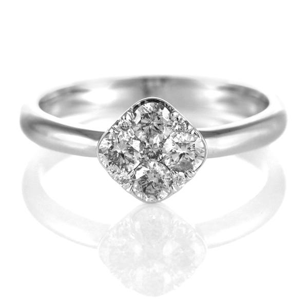 ダイヤモンド リング ダイヤモンドリング 指輪 ホワイトゴールド 4月 誕生石 フラワー