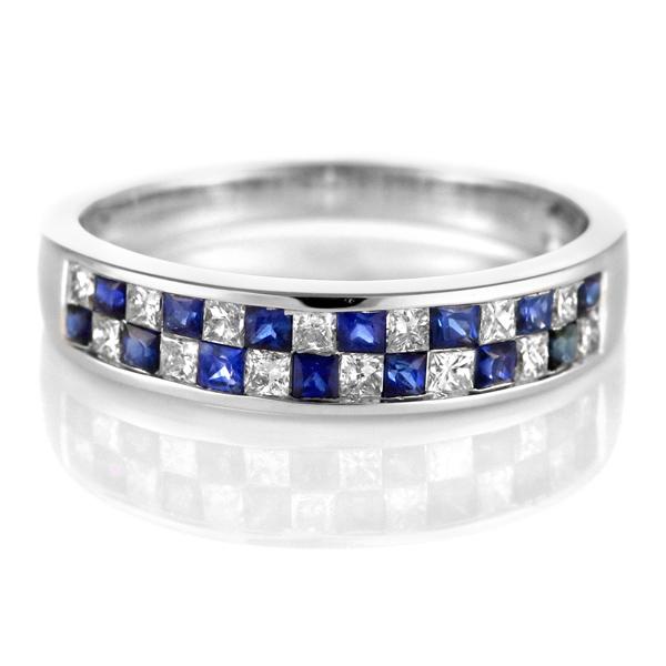 ダイヤモンド サファイア リング ダイヤモンドリング 指輪 ホワイトゴールド 4月 9月 誕生石