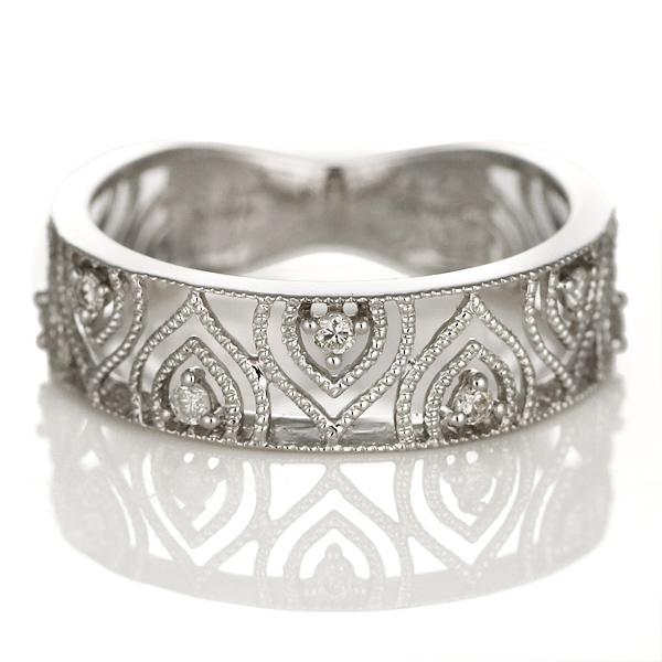 ダイヤモンド リング 指輪 18金 K18 18k ホワイトゴールド ダイヤ リング ストレート レディース アンティーク【DEAL】 末広 スーパーSALE