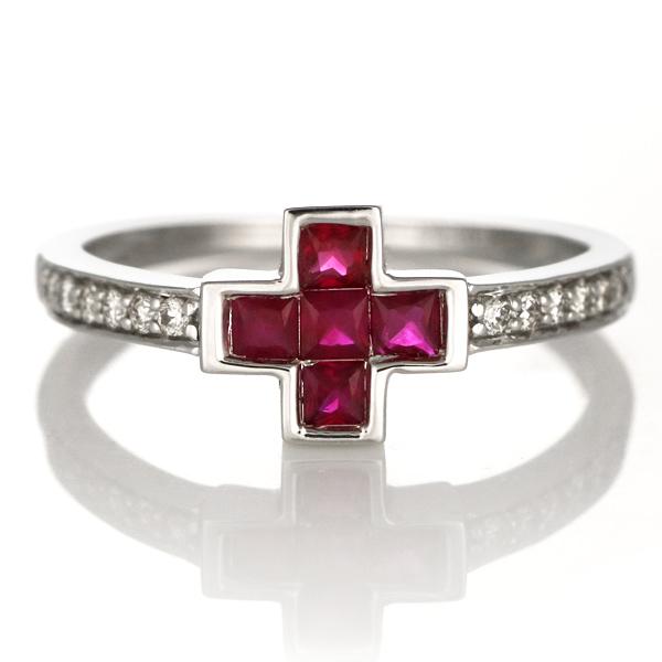 婚約指輪 ルビー リング 指輪 18金 K18 18k ホワイトゴールド ダイヤモンド リング ストレート レディース 希少な
