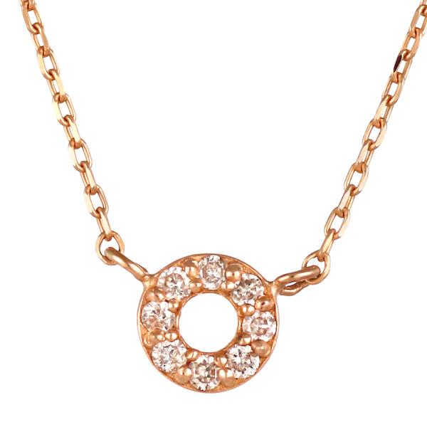 ピンクゴールド 10金 K10 シンプル 円 ダイヤモンド ネックレス 人気 おすすめ 【DEAL】 末広 スーパーSALE