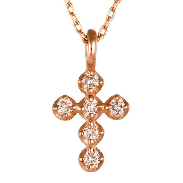 ピンクゴールド 10金 K10 シンプル クロス ダイヤモンド ネックレス 人気 おすすめ 【DEAL】 末広 スーパーSALE【今だけ代引手数料無料】
