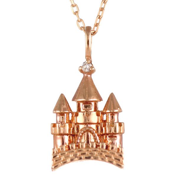 ピンクゴールド 10金 K10 キャッスル 城 ダイヤモンド ネックレス 人気 おすすめ 【DEAL】