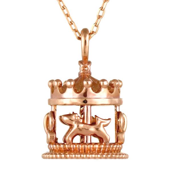 ピンクゴールド 10金 K10 メリーゴーランド アニマル 動物 ダイヤモンド ネックレス 人気 おすすめ 【DEAL】