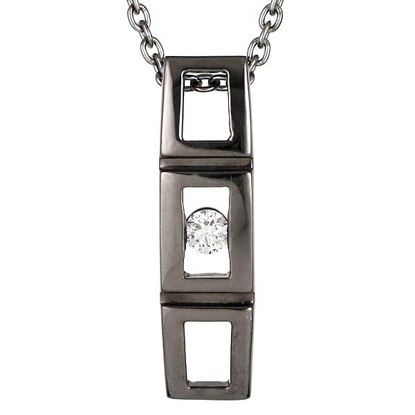 ネックレス メンズ シンプル ホワイトゴールド ダイヤモンド