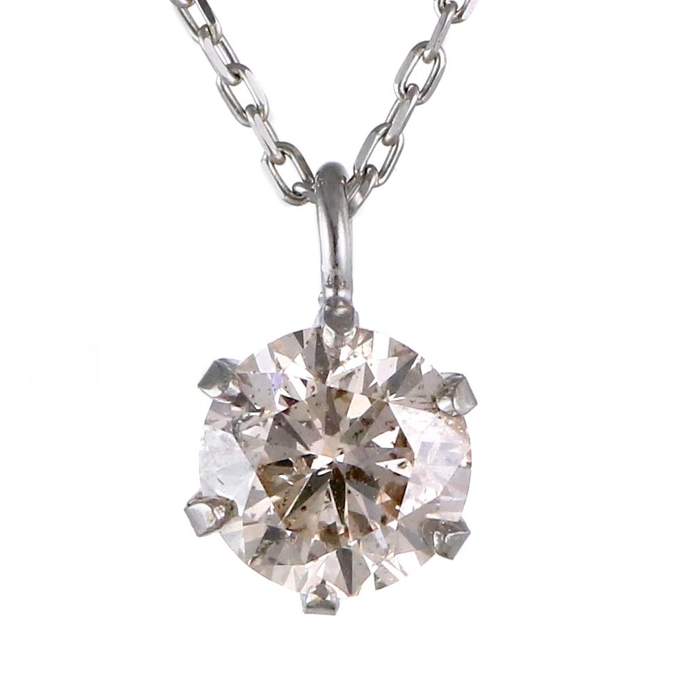 シャンパンゴールド ダイヤモンド 18金ホワイトゴールド ネックレス0.3ct VVSクラス 末広 スーパーSALE