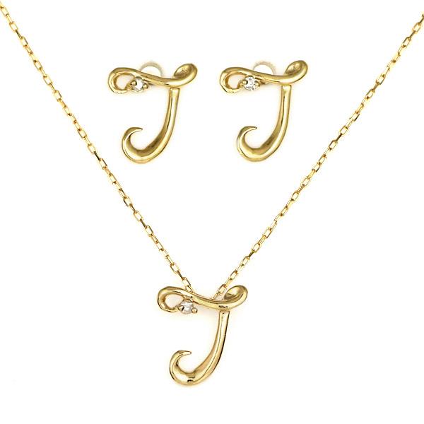 18金 K18 18k ダイヤモンド T イニシャル ピアス ネックレス セット商品 筆記体 人気 おすすめ 記念