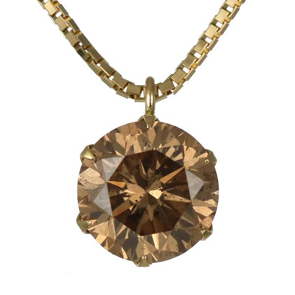 ネックレス 一粒 ダイヤモンド ネックレス イエローゴールド ダイヤモンドネックレス ダイヤモンド ダイヤ 1カラット ファンシーカラー 末広 スーパーSALE
