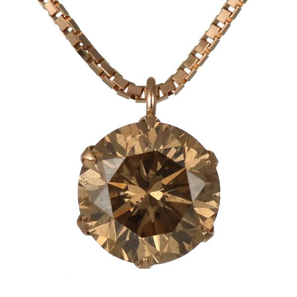 ネックレス 一粒 ダイヤモンド ネックレス ピンクゴールド ダイヤモンドネックレス ダイヤモンド ダイヤ 1カラット ファンシーカラー 末広 スーパーSALE