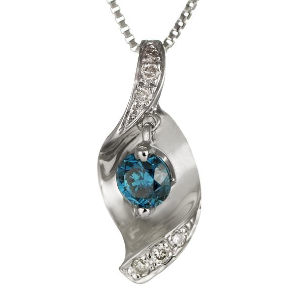 ダイヤモンド ネックレス 18金 K18 18k ブルーダイヤモンド ホワイトゴールド レディース 金ネックレス【DEAL】 末広 スーパーSALE