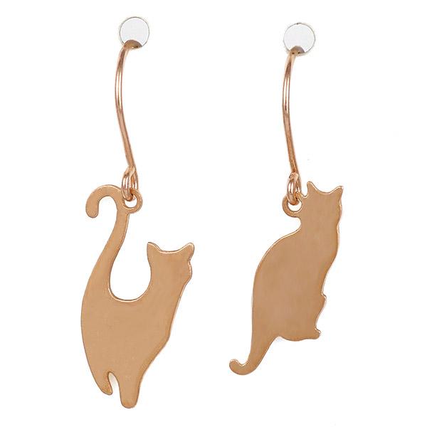 猫 ねこ ネコ CAT ピアス ピンクゴールド レディース アクセサリー
